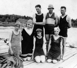 Hemingway (wearing hat) Horton Bay, Michigan 1920